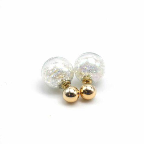 Boucles-dOreilles-Double-Mode-Boule-Metal-et-Verre-avec-Cristaux-Blanc