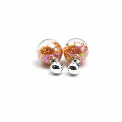 Boucles-dOreilles-Double-Mode-Boule-Metal-et-Verre-avec-Cristaux-Dore-Orange