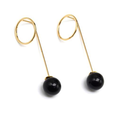 Boucles-dOreilles-Traversantes-Cercle-Ouvert-et-Tige-Metal-Dore-avec-Perle-Noire