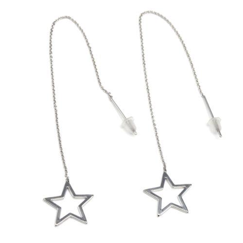 Boucles-dOreilles-Traversantes-Fine-Chaine-avec-Etoile-Ouverte-Metal-Argente