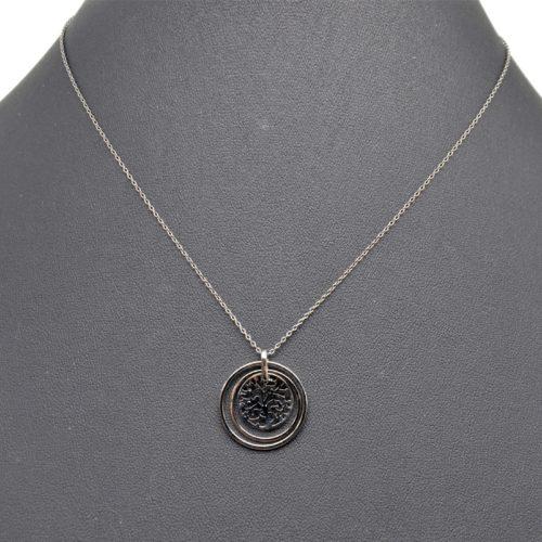 Collier-Chaine-Pendentif-Double-Cercles-et-Arbre-de-Vie-Metal-Gris