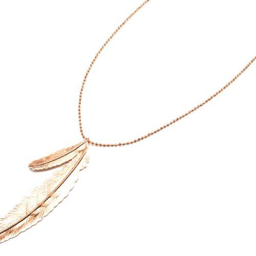 Sautoir-Collier-Pendentif-Double-Plumes-Relief-Metal-Or-Rose