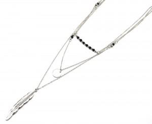 Sautoir-Collier-Triple-Chaine-avec-Pendentifs-Perles-Noires-Rond-et-Plume-Ethnique-Metal-Argente