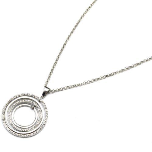 Sautoir-Collier-Pendentif-Multi-Cercles-Contour-Metal-et-Strass-Argente