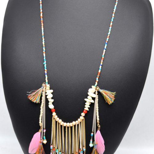 Sautoir-Collier-Perles-Rocaille-avec-Pendentif-Chaines-Pompons-et-Plumes-Multicolore