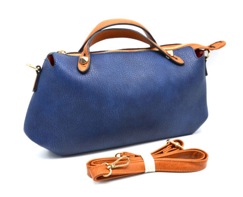 Petit-Sac-a-Main-Rectangle-Pointu-Simili-Cuir-Graine-Bicolore-Bleu
