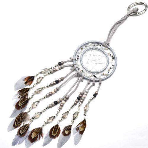 Porte-Cles-Bijou-de-Sac-Attrape-Reves-Dreamcatcher-Feutrine-avec-Fils-Brillants-Perles-et-Plumes-Ethnique-Gris