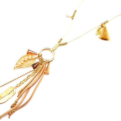 Sautoir-Collier-Cordon-Pendentif-Cercle-Metal-Dore-avec-Perles-Feuilles-et-Pompon-Beige