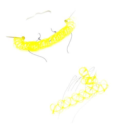 Parure-Collier-Choker-Bracelet-Bague-Effet-Tatouage-Retro-Elastique-Jaune