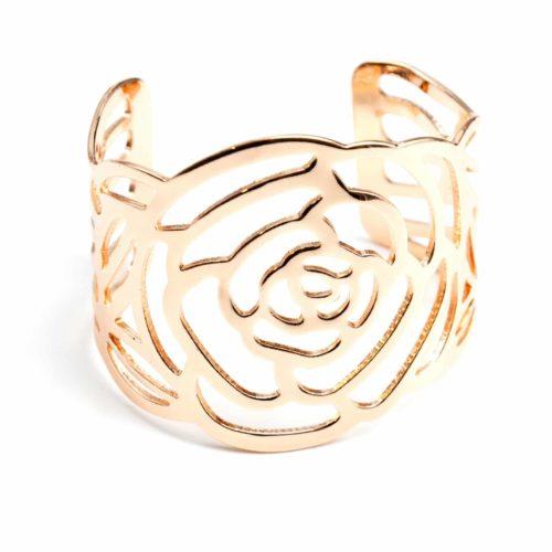 Bracelet-Manchette-Ouverte-Fleur-Ajouree-Metal-Or-Rose
