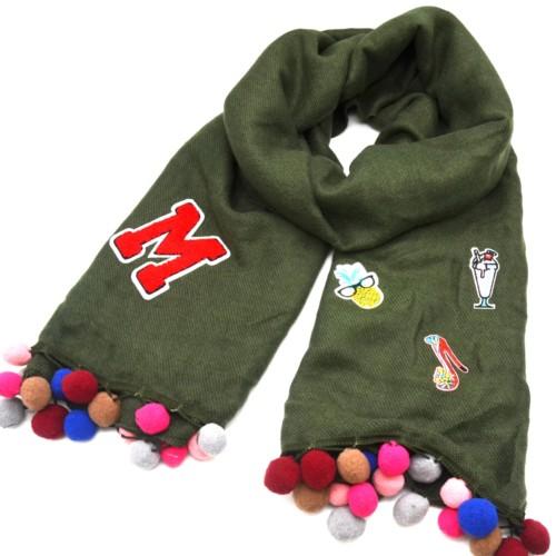 Echarpe-Longue-Automne-Hiver-Laine-Uni-Kaki-avec-Multi-Patchs-Assortis-et-Pompons-Boule-Multicolore