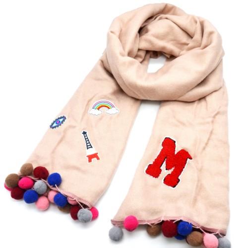 Echarpe-Longue-Automne-Hiver-Laine-Uni-Rose-Nude-avec-Multi-Patchs-Assortis-et-Pompons-Boule-Multicolore