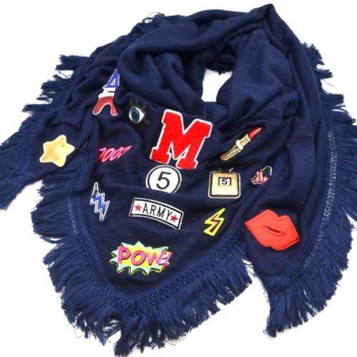 Echarpe-Chale-Automne-Hiver-Coton-Uni-avec-Multi-Patchs-Assortis-et-Franges-Fils-Bleu-Marine