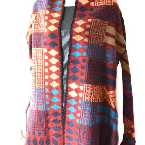 Echarpe-Longue-Style-Poncho-Automne-Hiver-Motif-Ethnique-Multicolore-Bordeaux