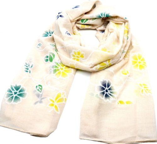 Foulard-Long-Printemps-Ete-Uni-Beige-Motif-Fleurs-Brodees-Multicolore