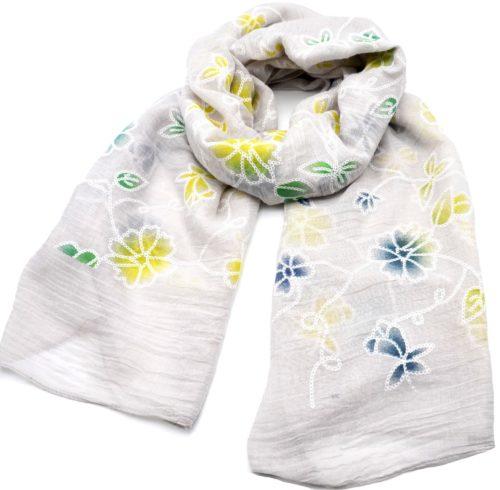 Foulard-Long-Printemps-Ete-Uni-Gris-Clair-Motif-Fleurs-Brodees-Multicolore