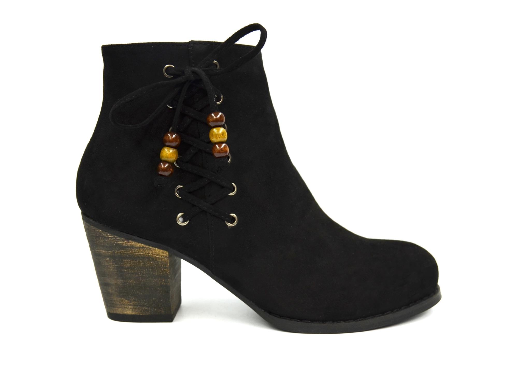 e4a17c00bfaee2 SHF37 * Bottines Boots à Talon Effet Daim Uni avec Lacets Croisés sur le  Côté et Perles Bois (Noir)