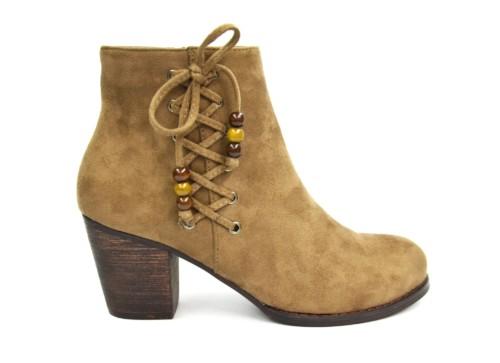 Bottines-Boots-Talon-Effet-Daim-Uni-avec-Lacets-Croiss-sur-le-Ct-et-Perles-Bois-Ethnique