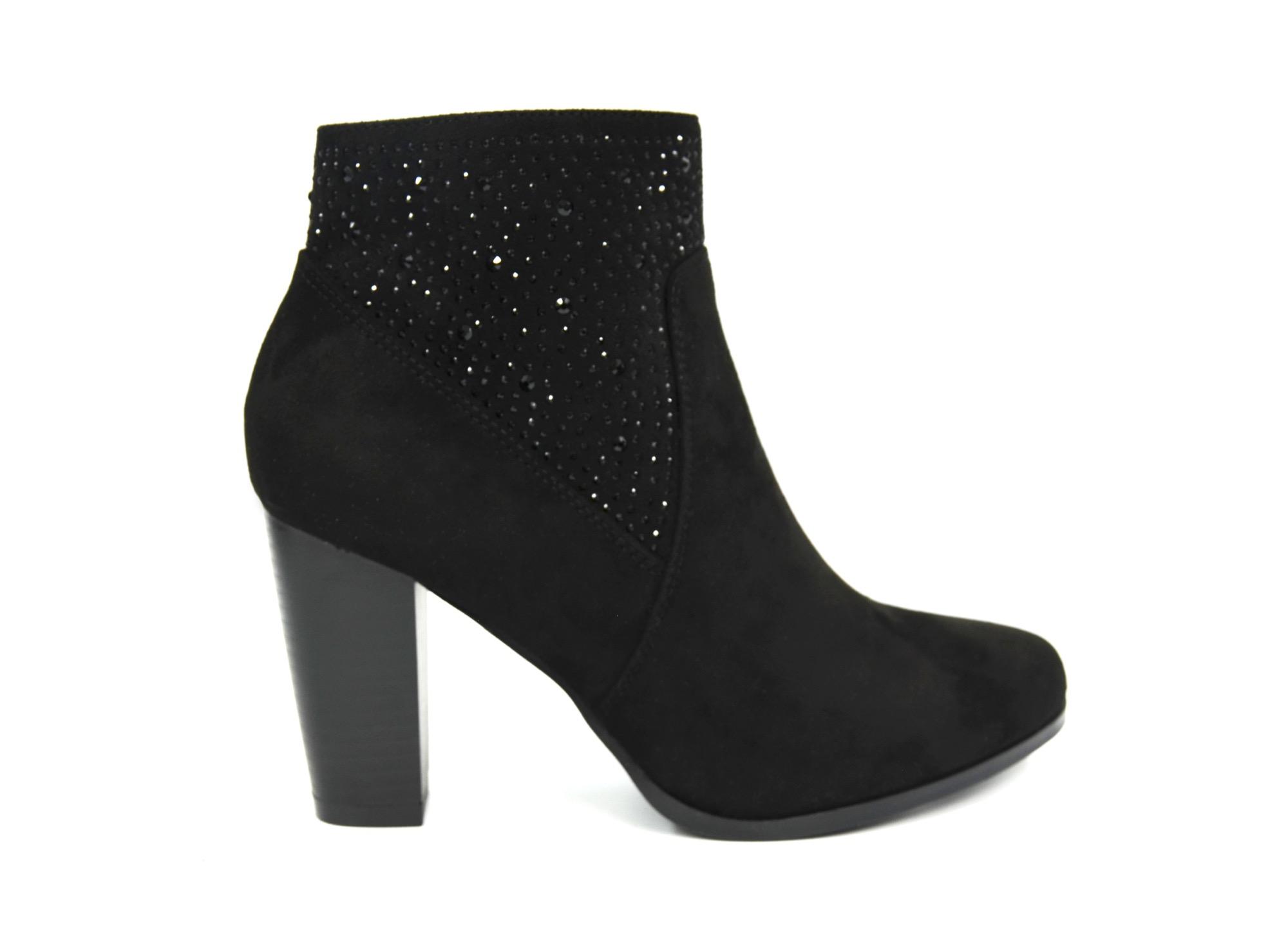 29d639c62fd39a SHF41 * Bottines Boots à Talon Effet Daim Uni Orné de Strass – Mode Femme ( Noir)