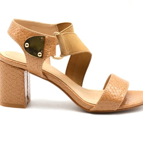Sandales-Nu-Pieds-Talon-Carre-Camel-avec-Motif-Ecailles-Python-Verni-et-Bande-Elastique
