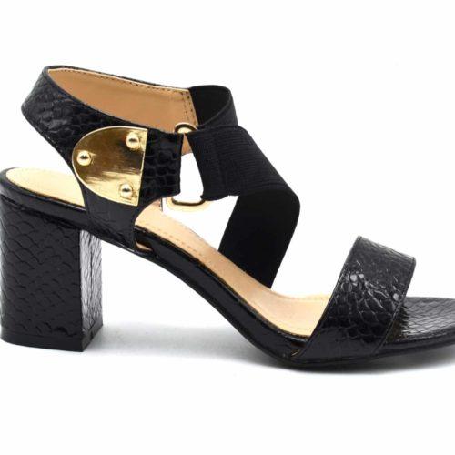 Sandales-Nu-Pieds-Talon-Carre-Noir-avec-Motif-Ecailles-Python-Verni-et-Bande-Elastique