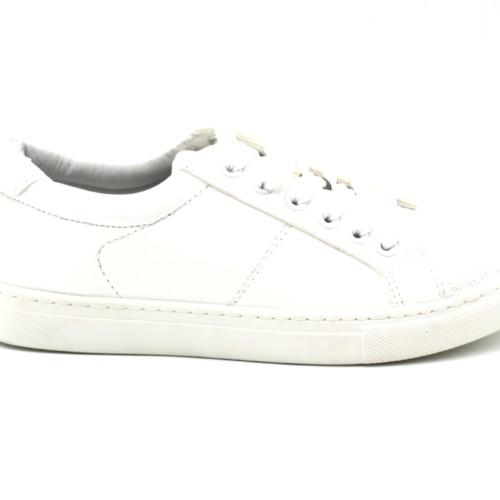 Baskets-Sneakers-Simili-Cuir-Blanc-Uni-avec-Bouts-Avant-Arriere-Paillettes-Blanc-et-Lacets
