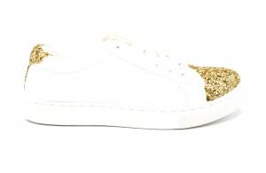 Baskets-Sneakers-Simili-Cuir-Blanc-Uni-avec-Bouts-Avant-Arriere-Paillettes-Dore-et-Lacets