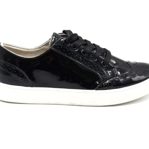 Baskets-Basses-Vernis-Noir-Style-Derbies-Perforees-avec-Surpiqures-et-Lacets