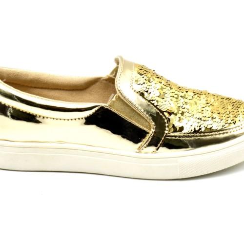 Baskets-Tennis-Sneakers-Slip-On-Simili-Cuir-Vernis-avec-Sequins-Brillants
