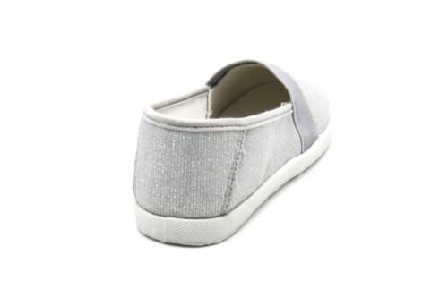 Baskets-Tennis-Sneakers-Slip-On-Tissu-Brillant-Paillettes-Argente-avec-Bande-Elastique-et-Semelle
