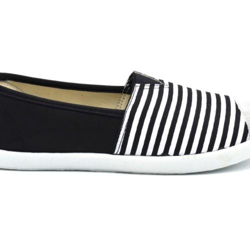 Espadrilles-Tissu-Uni-Noir-et-Rayures-avec-Bouts-Style-Daim