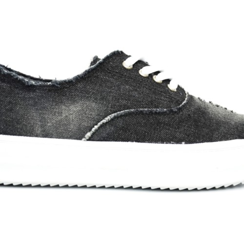 Baskets-Basses-Tennis-Sneakers-Tissu-Effet-Jean-Dechire-avec-Semelle-Plateforme-Compensee