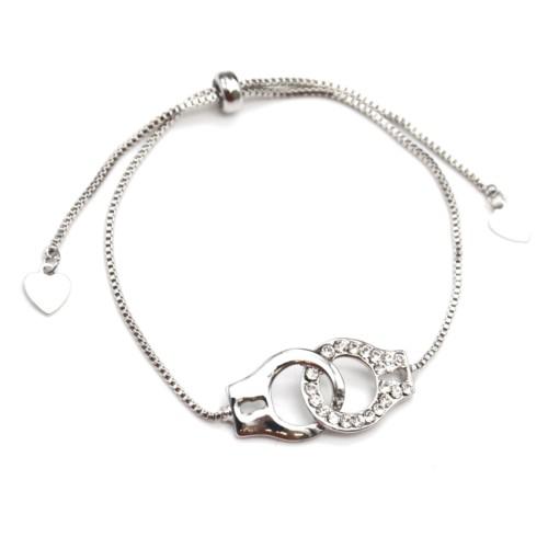 Bracelet-Chaine-Ajustable-avec-Menottes-Metal-Contour-Strass-Argente