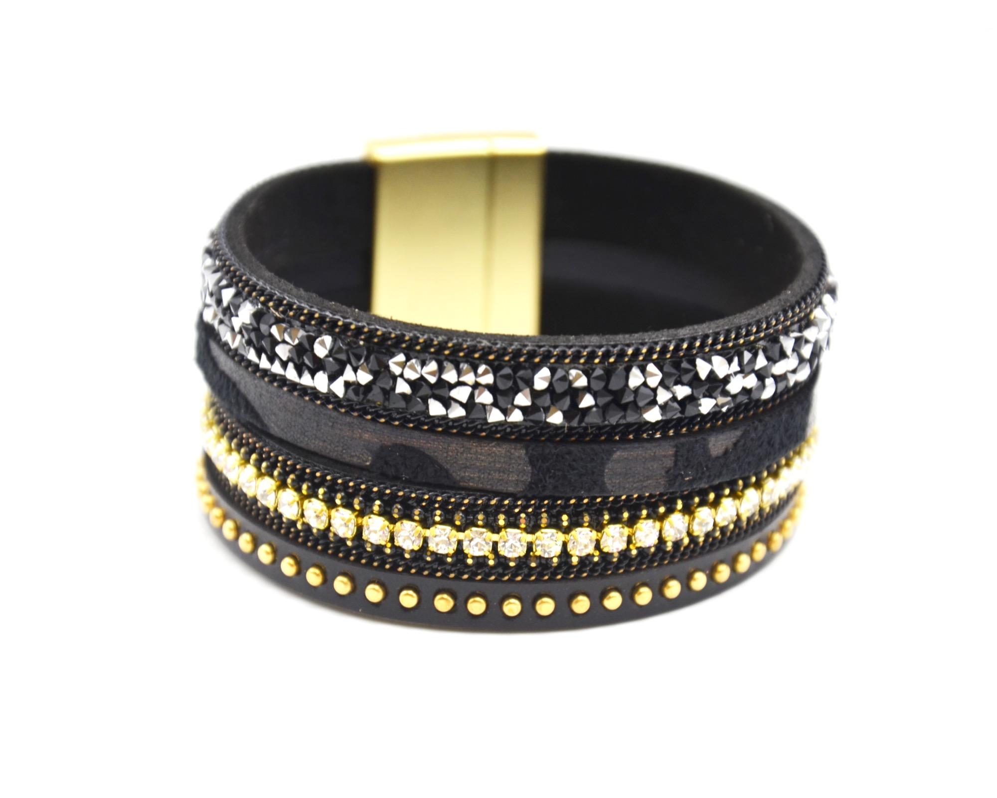 7b6d455a30b97 BC1867E – Bracelet Manchette Clous Brillants Chaînes Bande Simili Cuir Noir  et Strass – Mode Fantaisie