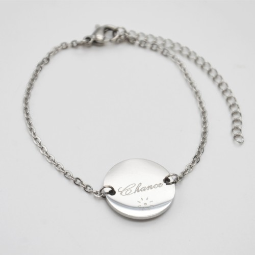 Bracelet-Fine-Chaine-avec-Charm-Cercle-Chance-Acier-Argente
