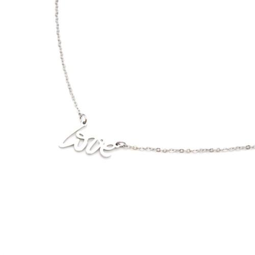 Collier-Fine-Chaine-et-Pendentif-Message-Love-Acier-Argente