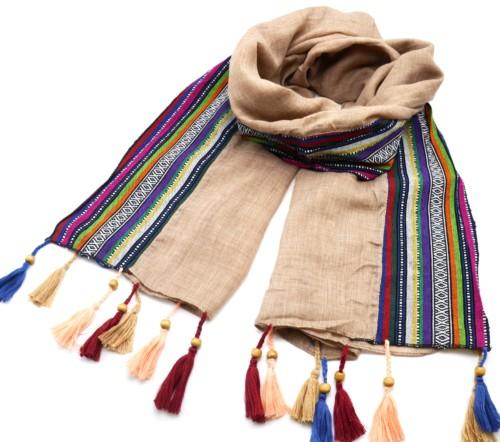 Foulard-Long-Automne-Hiver-Chine-avec-Bord-Bandes-Ethnique-et-Pompons-Multicolore