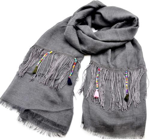Foulard-Long-Automne-Hiver-Gris-Fonce-avec-Franges-Fils-Ethnique-Perles-et-Pompons-Multicolore