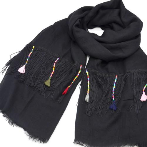 Foulard-Long-Automne-Hiver-Chine-avec-Franges-Fils-Ethnique-Perles-et-Pompons-Multicolore