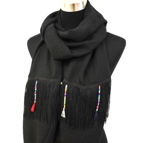 Foulard-Long-Automne-Hiver-Noir-avec-Fils-Ethnique-Perles-et-Pompons-Multicolore