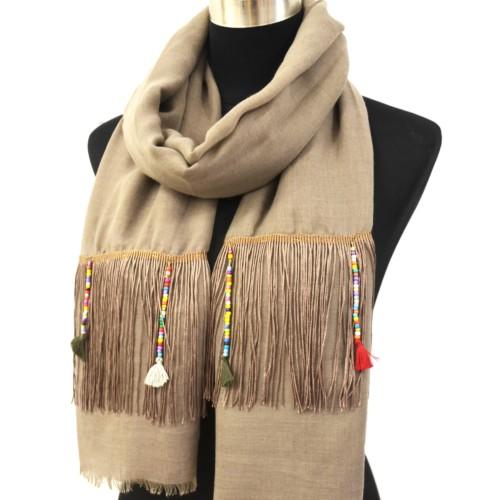 Foulard-Long-Automne-Hiver-Taupe-avec-Fils-Ethnique-Perles-et-Pompons-Multicolore