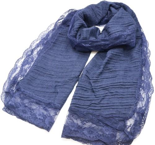 Foulard-Long-Automne-Hiver-Bleu-Marine-Crepe-avec-Contour-Dentelle-Motif-Fleuri