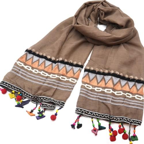Foulard-Long-Automne-Hiver-Uni-avec-Bandes-Motif-Ethnique-Pompons-Boule-et-Perles-Multicolore