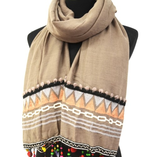 Foulard-Long-Automne-Hiver-Taupe-avec-Motif-Ethnique-Pompons-et-Perles-Multicolore