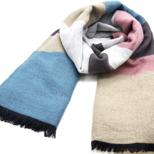 Grosse-Echarpe-Longue-Automne-Hiver-Style-Plaid-Bandes-Couleurs-Bleu-Beige-avec-Franges