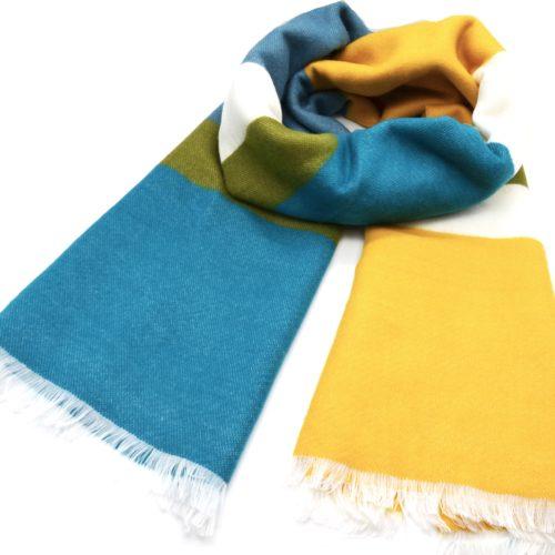 Grosse-Echarpe-Longue-Automne-Hiver-Style-Plaid-Bandes-Couleurs-Bleu-Jaune-avec-Franges