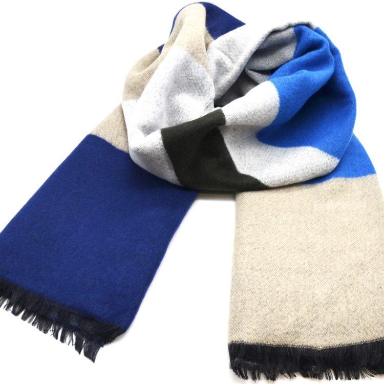 Grosse-Echarpe-Longue-Automne-Hiver-Style-Plaid-Bandes-Couleurs-Bleu-Marine-Beige-avec-Franges