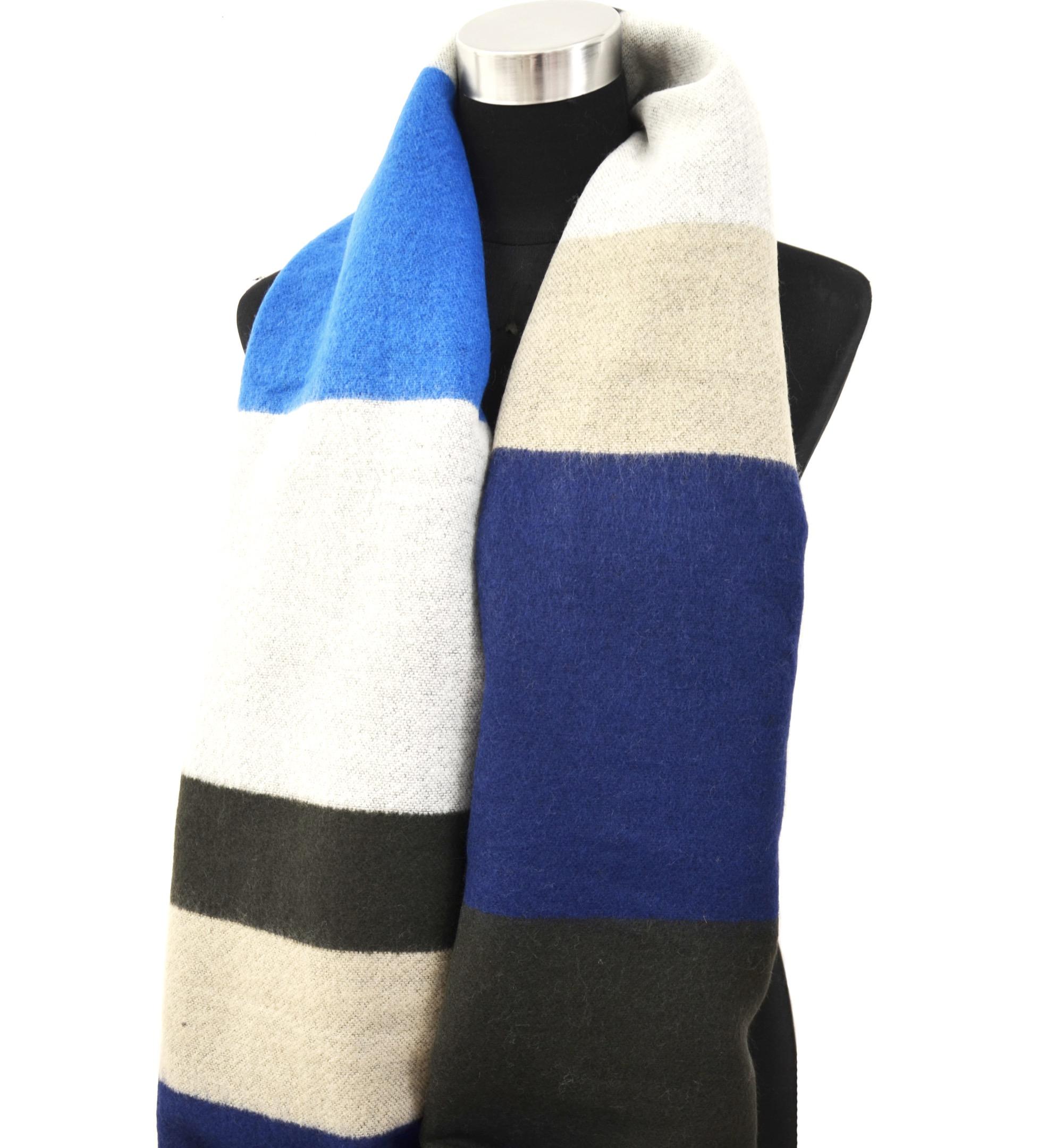psv125 grosse echarpe longue automne hiver style plaid avec bandes couleurs et franges bleu. Black Bedroom Furniture Sets. Home Design Ideas