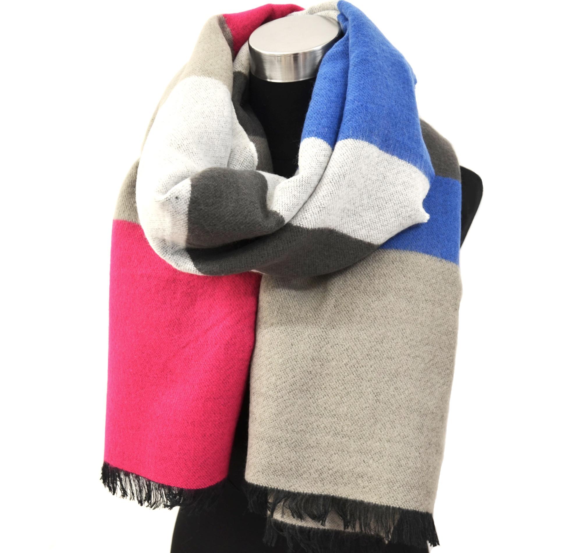 psv125 grosse echarpe longue automne hiver style plaid avec bandes couleurs et franges. Black Bedroom Furniture Sets. Home Design Ideas