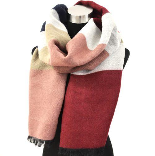 Grosse-Echarpe-Longue-Automne-Hiver-Style-Plaid-Bandes-Couleurs-Rose-Bordeaux-avec-Franges